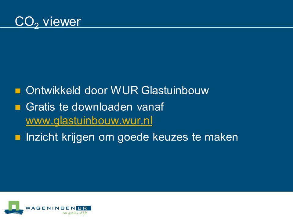 CO 2 viewer Ontwikkeld door WUR Glastuinbouw Gratis te downloaden vanaf www.glastuinbouw.wur.nl www.glastuinbouw.wur.nl Inzicht krijgen om goede keuzes te maken