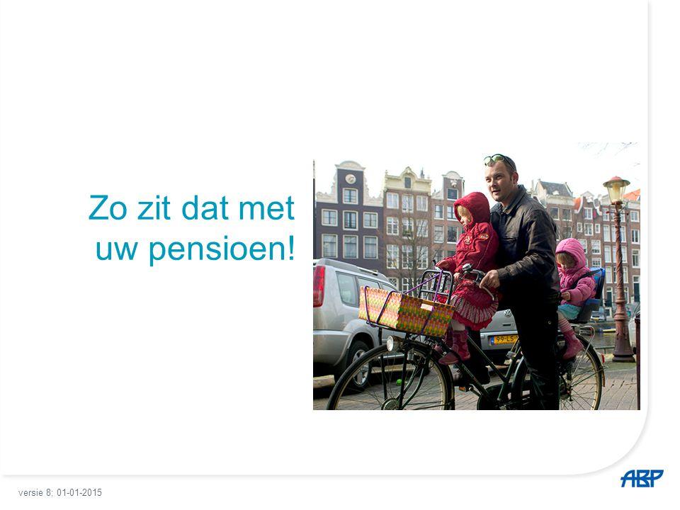 2 Pensioen een huis met meerdere verdiepingen Begane grond: wettelijk basisinkomen 1 e verdieping: ABP-pensioen 2 e verdieping: persoonlijke aanvullingen versie 8; 01-01-2015