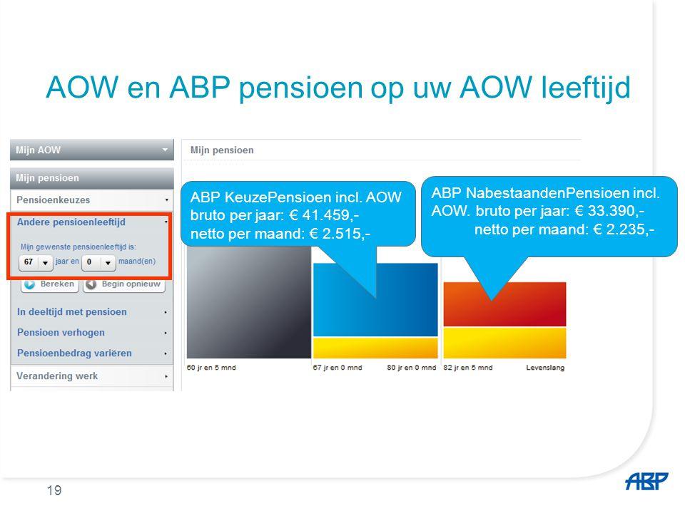AOW en ABP pensioen op uw AOW leeftijd ABP KeuzePensioen incl. AOW bruto per jaar: € 41.459,- netto per maand: € 2.515,- ABP NabestaandenPensioen incl