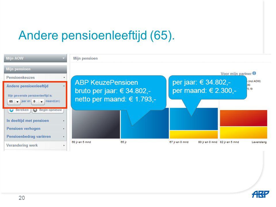 Andere pensioenleeftijd (65). ABP KeuzePensioen bruto per jaar: € 34.802,- netto per maand: € 1.793,- per jaar: € 34.802,- per maand: € 2.300,- 20
