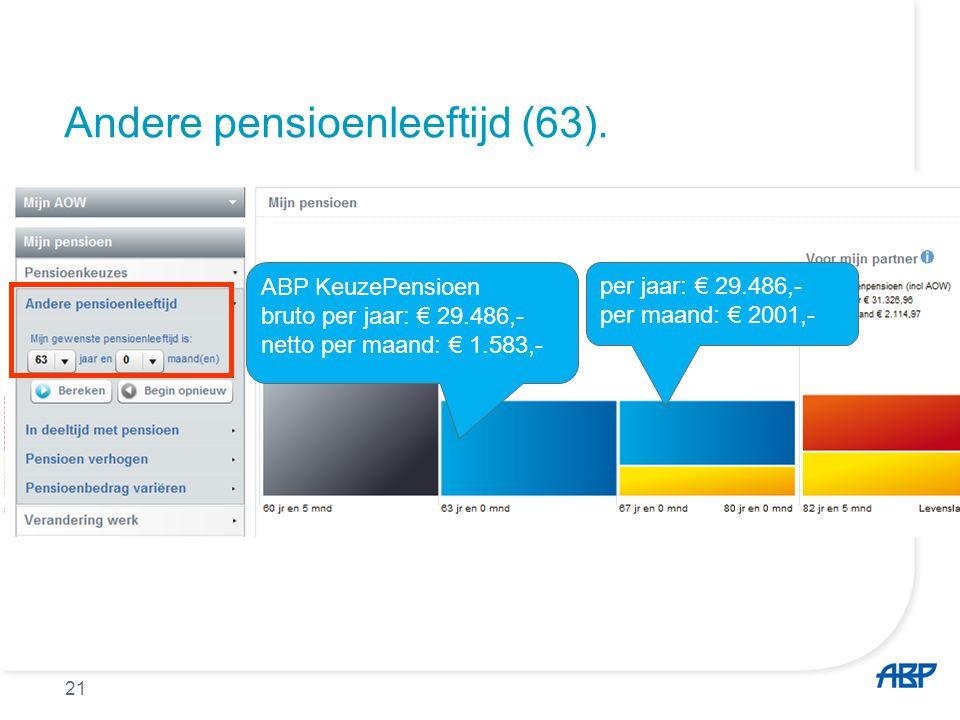 Andere pensioenleeftijd (63). ABP KeuzePensioen bruto per jaar: € 29.486,- netto per maand: € 1.583,- per jaar: € 29.486,- per maand: € 2001,- 21