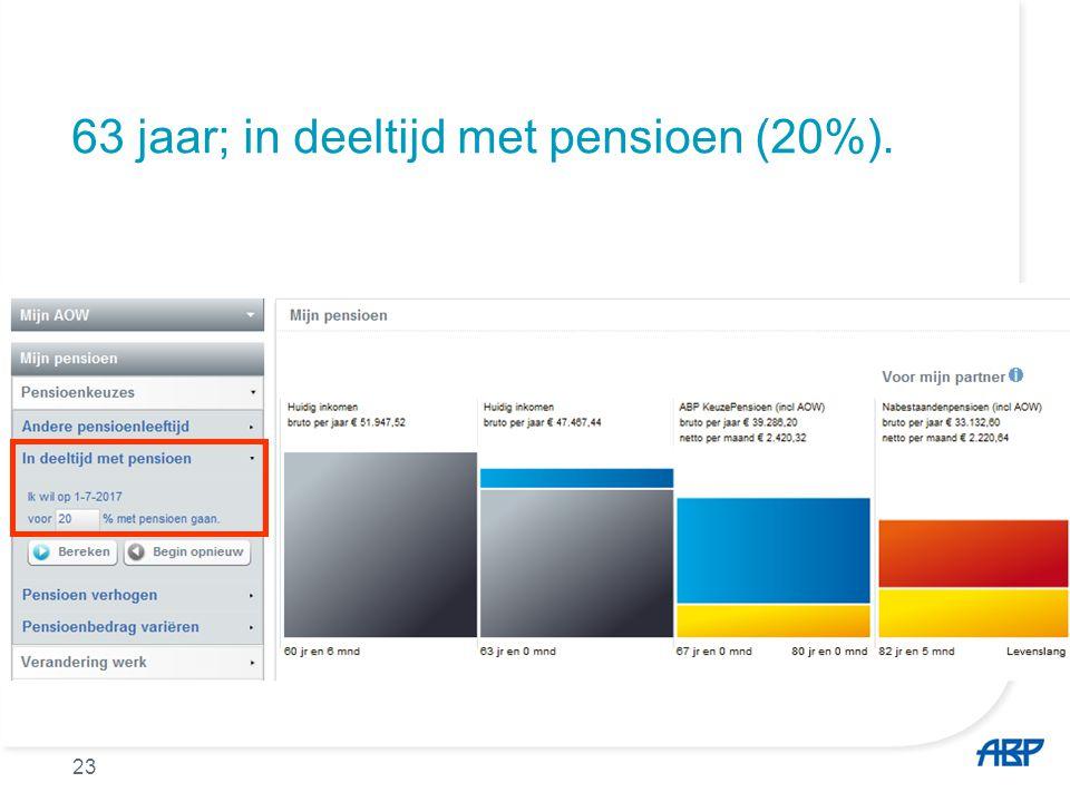 63 jaar; in deeltijd met pensioen (20%). 23