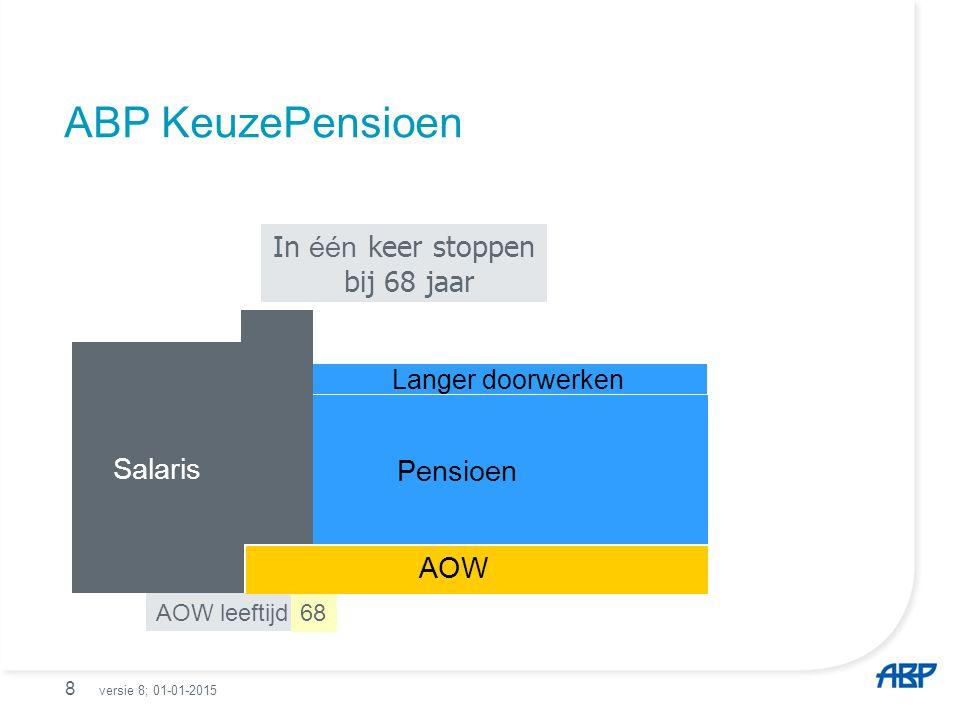 9 ABP KeuzePensioen In één keer stoppen bij 63 jaar AOW leeftijd63 Salaris AOW Pensioen Salaris versie 8; 01-01-2015