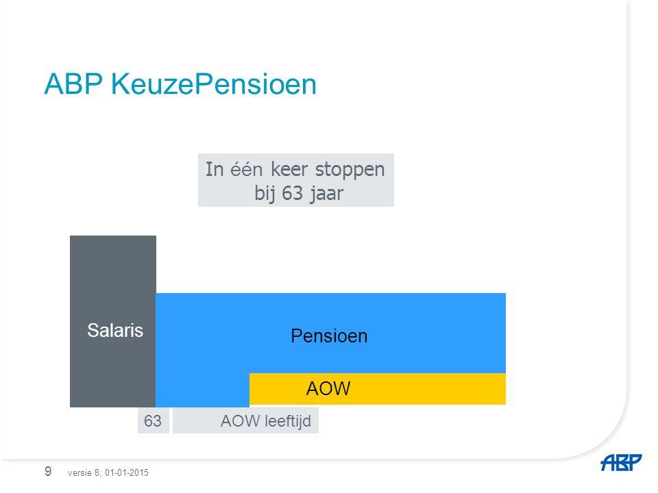 In stappen stoppen; voor 20% bij 60 jaar voor 40% bij 63 jaar en 100% op AOW leeftijd 60 63 AOW leeftijd Pensioen ABP KeuzePensioen 10 Salaris AOW versie 8; 01-01-2015