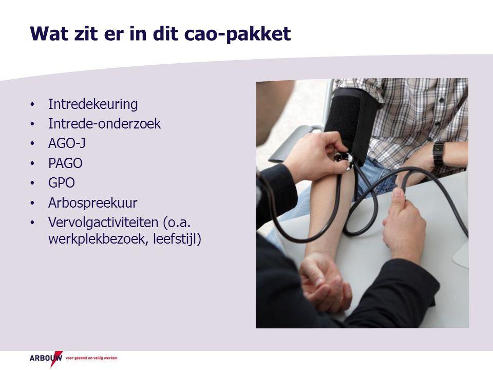 Wat zit er in dit cao-pakket Intredekeuring Intrede-onderzoek AGO-J PAGO GPO Arbospreekuur Vervolgactiviteiten (o.a.