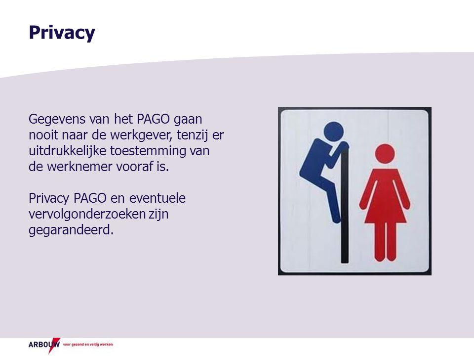 Privacy Gegevens van het PAGO gaan nooit naar de werkgever, tenzij er uitdrukkelijke toestemming van de werknemer vooraf is.