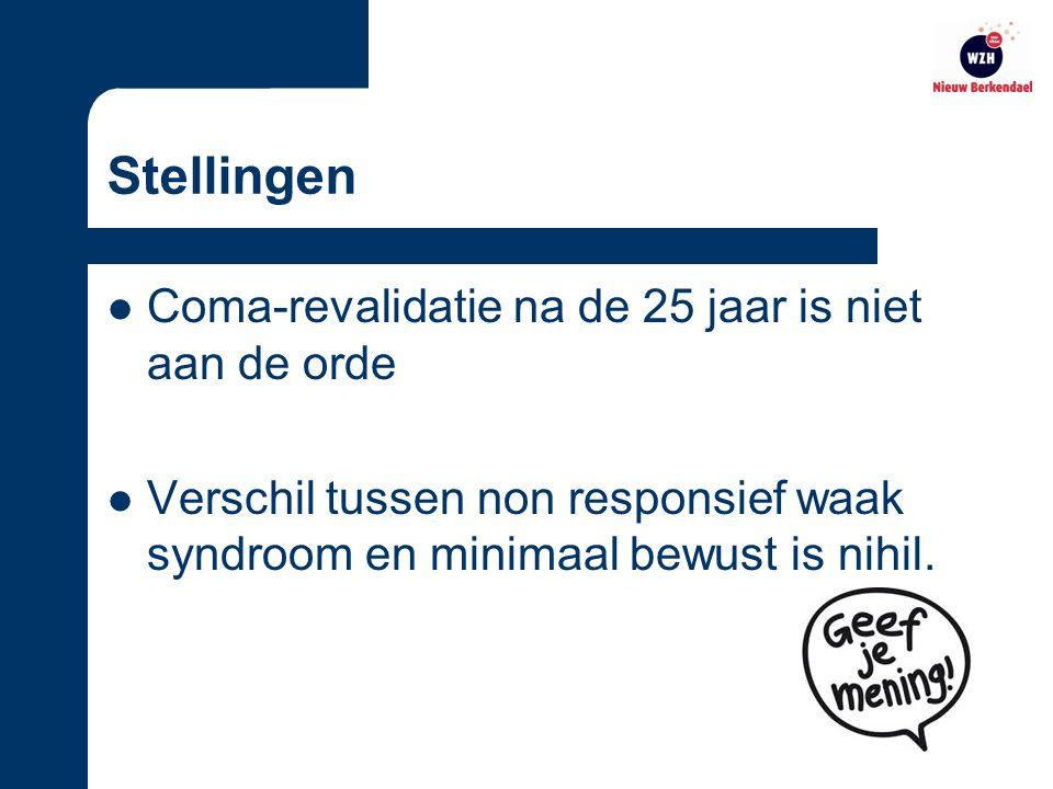 Stellingen Coma-revalidatie na de 25 jaar is niet aan de orde Verschil tussen non responsief waak syndroom en minimaal bewust is nihil.