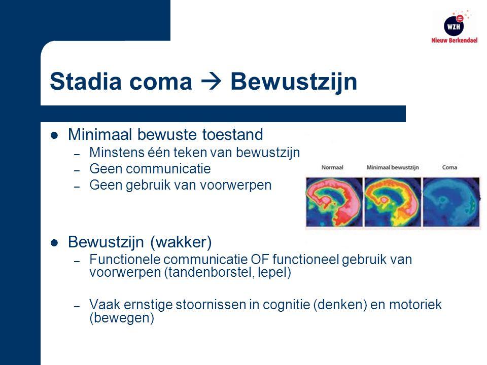 Stadia coma  Bewustzijn Minimaal bewuste toestand – Minstens één teken van bewustzijn – Geen communicatie – Geen gebruik van voorwerpen Bewustzijn (wakker) – Functionele communicatie OF functioneel gebruik van voorwerpen (tandenborstel, lepel) – Vaak ernstige stoornissen in cognitie (denken) en motoriek (bewegen)