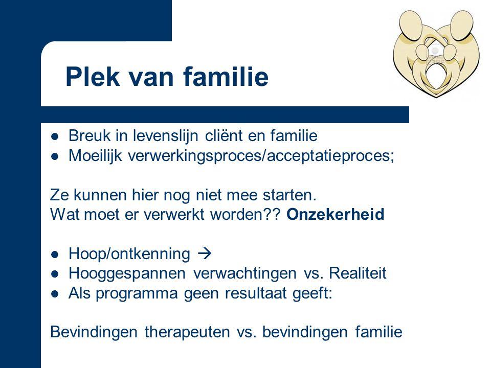 Breuk in levenslijn cliënt en familie Moeilijk verwerkingsproces/acceptatieproces; Ze kunnen hier nog niet mee starten.