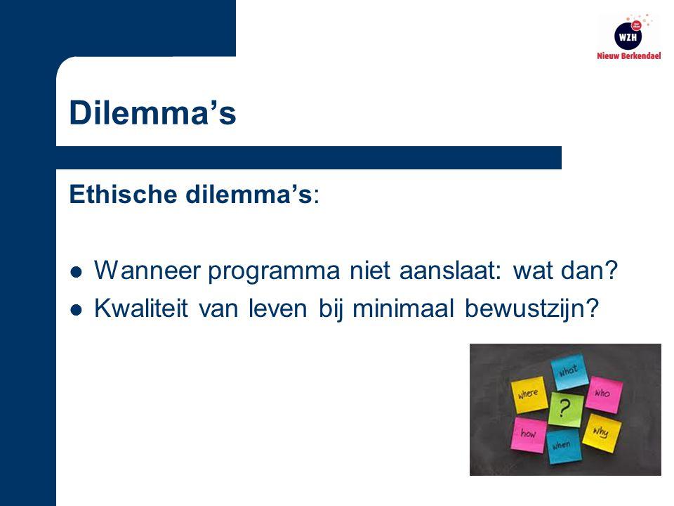 Dilemma's Ethische dilemma's: Wanneer programma niet aanslaat: wat dan.