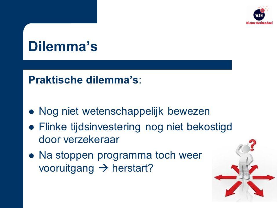 Dilemma's Praktische dilemma's: Nog niet wetenschappelijk bewezen Flinke tijdsinvestering nog niet bekostigd door verzekeraar Na stoppen programma toch weer vooruitgang  herstart?
