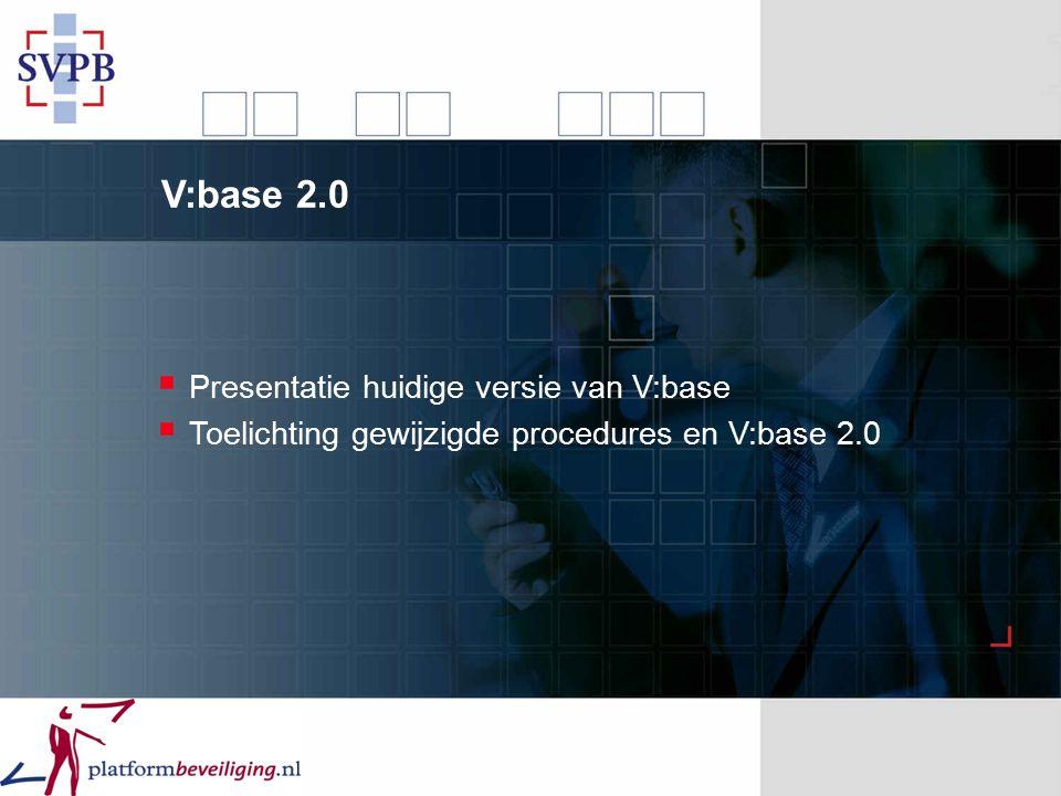 V:base 2.0  Presentatie huidige versie van V:base  Toelichting gewijzigde procedures en V:base 2.0