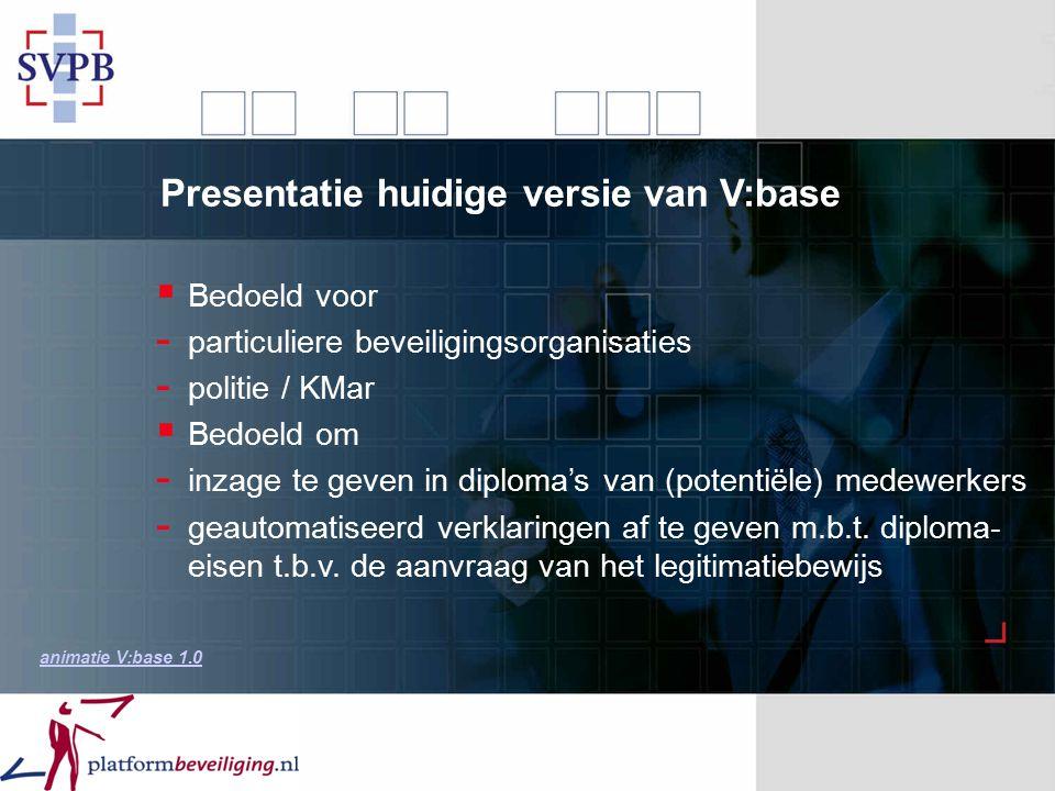 Presentatie huidige versie van V:base  Bedoeld voor - particuliere beveiligingsorganisaties - politie / KMar  Bedoeld om - inzage te geven in diplom