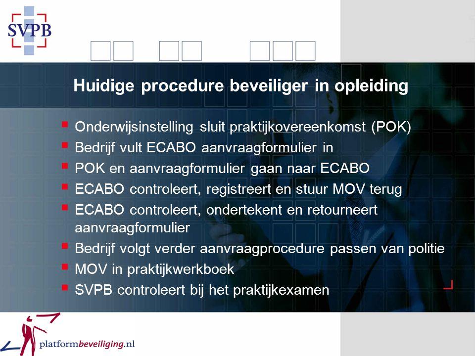 Huidige procedure beveiliger in opleiding  Onderwijsinstelling sluit praktijkovereenkomst (POK)  Bedrijf vult ECABO aanvraagformulier in  POK en aa