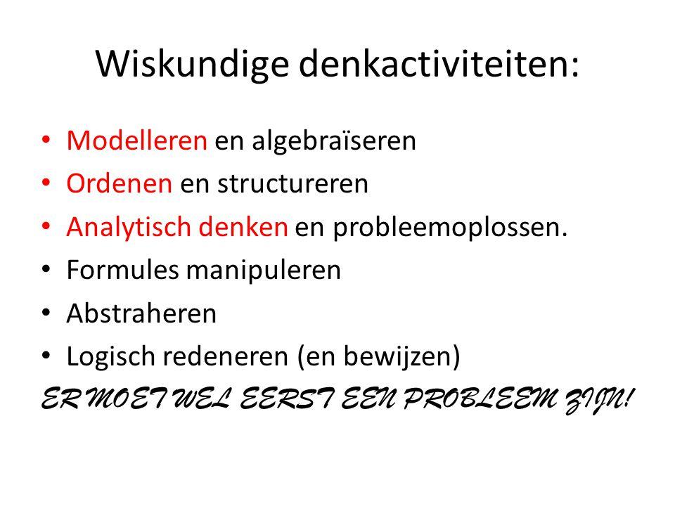 Wiskundige denkactiviteiten: Modelleren en algebraïseren Ordenen en structureren Analytisch denken en probleemoplossen.