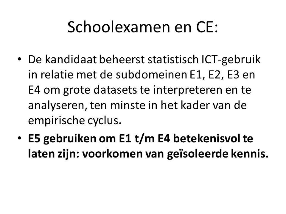 Schoolexamen en CE: De kandidaat beheerst statistisch ICT-gebruik in relatie met de subdomeinen E1, E2, E3 en E4 om grote datasets te interpreteren en te analyseren, ten minste in het kader van de empirische cyclus.
