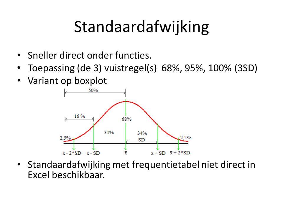 Standaardafwijking Sneller direct onder functies.