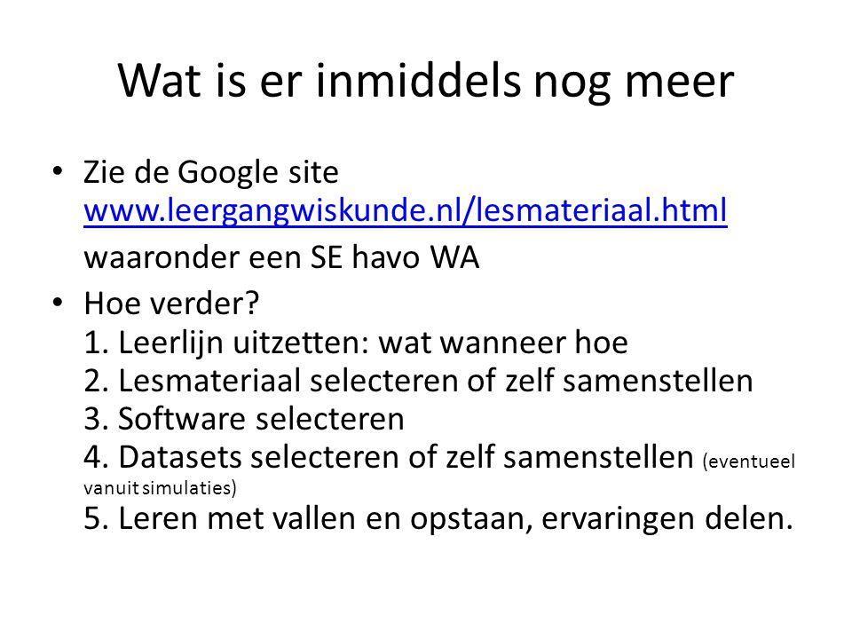 Wat is er inmiddels nog meer Zie de Google site www.leergangwiskunde.nl/lesmateriaal.html www.leergangwiskunde.nl/lesmateriaal.html waaronder een SE havo WA Hoe verder.