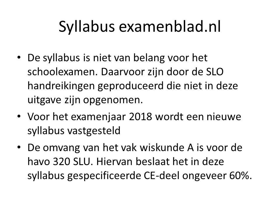 Syllabus examenblad.nl De syllabus is niet van belang voor het schoolexamen.