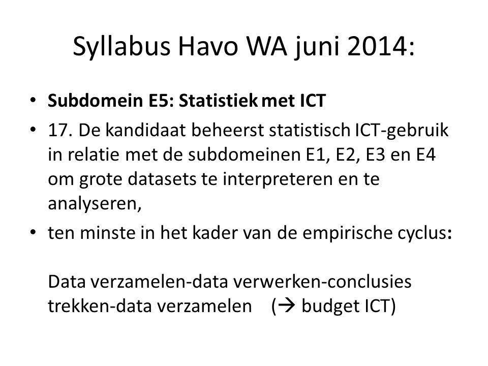Syllabus Havo WA juni 2014: Subdomein E5: Statistiek met ICT 17.