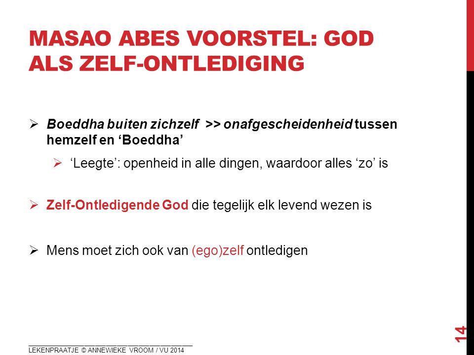 MASAO ABES VOORSTEL: GOD ALS ZELF-ONTLEDIGING  Boeddha buiten zichzelf >> onafgescheidenheid tussen hemzelf en 'Boeddha'  'Leegte': openheid in alle