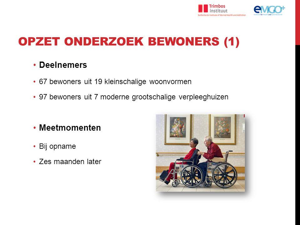 OPZET ONDERZOEK BEWONERS (1) Deelnemers 67 bewoners uit 19 kleinschalige woonvormen 97 bewoners uit 7 moderne grootschalige verpleeghuizen Meetmomente