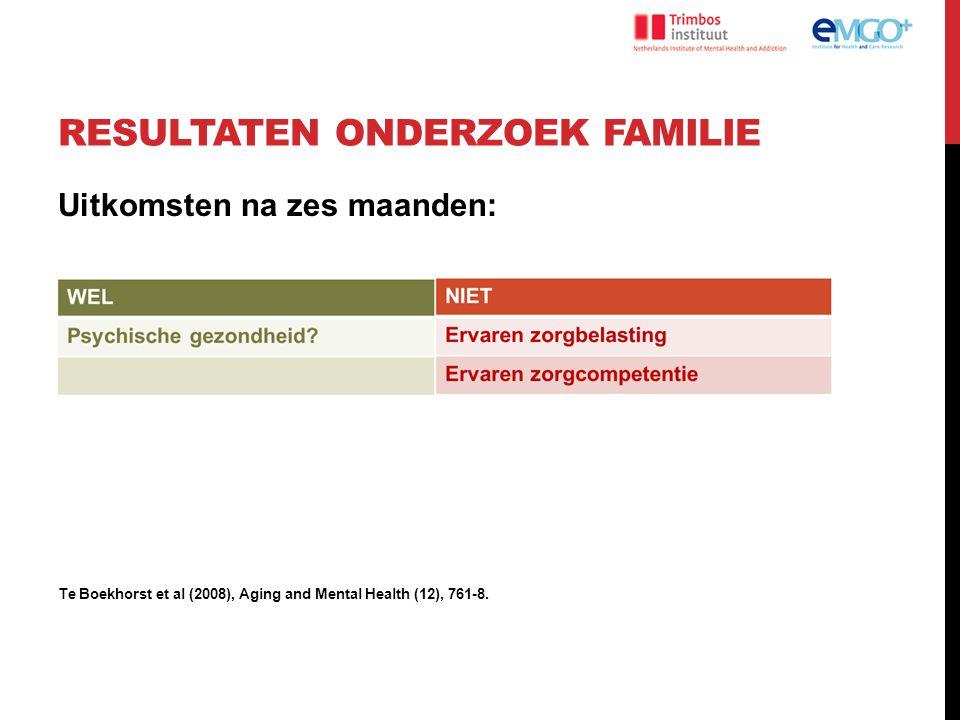 RESULTATEN ONDERZOEK FAMILIE Uitkomsten na zes maanden: Te Boekhorst et al (2008), Aging and Mental Health (12), 761-8.