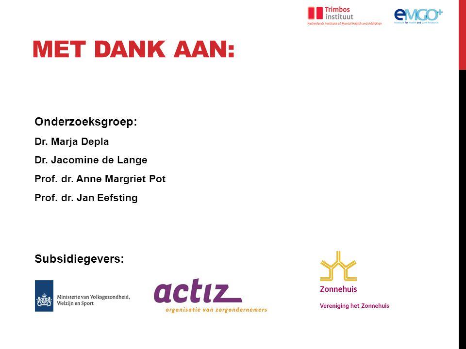 MET DANK AAN: Onderzoeksgroep: Dr. Marja Depla Dr. Jacomine de Lange Prof. dr. Anne Margriet Pot Prof. dr. Jan Eefsting Subsidiegevers: