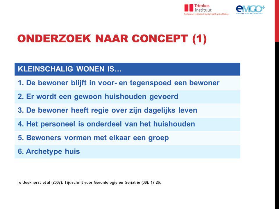 ONDERZOEK NAAR CONCEPT (2) 19 kleinschalige woonvormen en 7 moderne grootschalige verpleeghuizen Te Boekhorst et al (2011), International Psychigeriatrics (23), 1526-7.