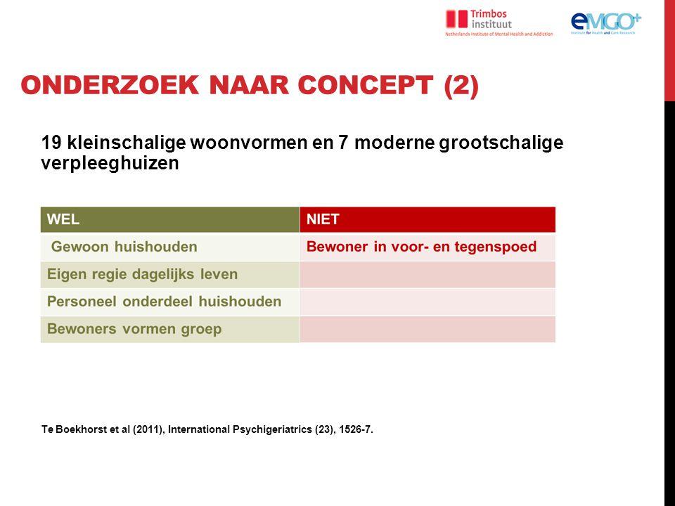 ONDERZOEK NAAR CONCEPT (2) 19 kleinschalige woonvormen en 7 moderne grootschalige verpleeghuizen Te Boekhorst et al (2011), International Psychigeriat