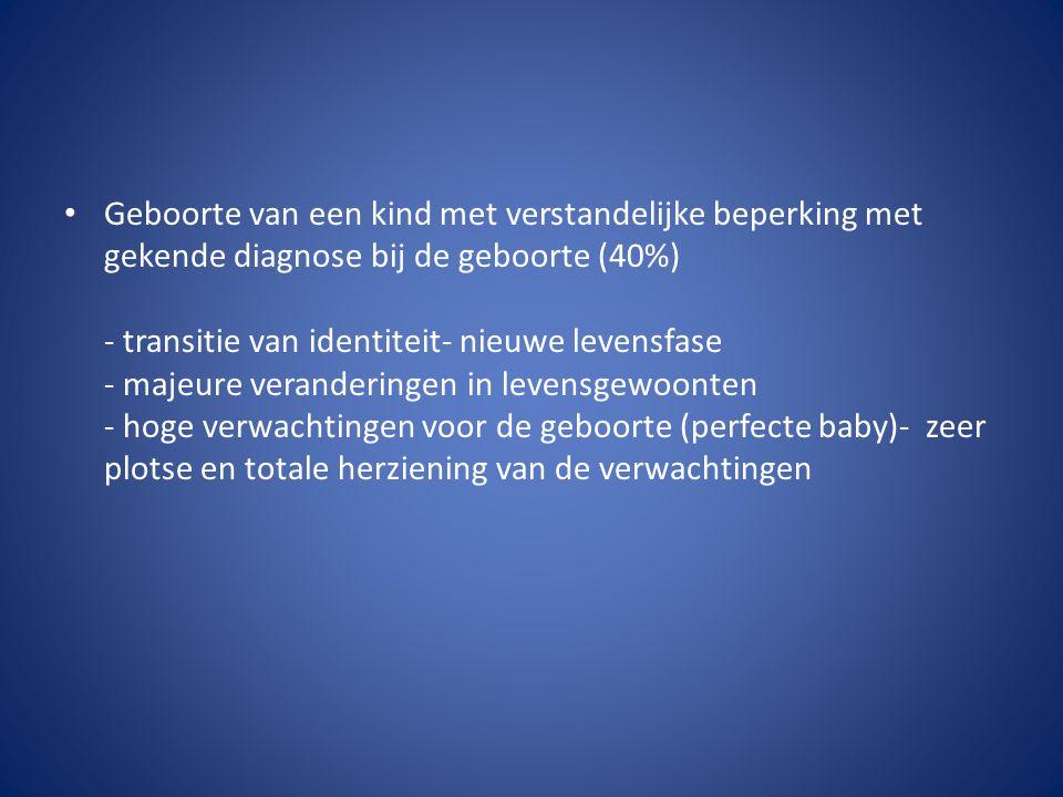 Geboorte van een kind met verstandelijke beperking met gekende diagnose bij de geboorte (40%) - transitie van identiteit- nieuwe levensfase - majeure veranderingen in levensgewoonten - hoge verwachtingen voor de geboorte (perfecte baby)- zeer plotse en totale herziening van de verwachtingen