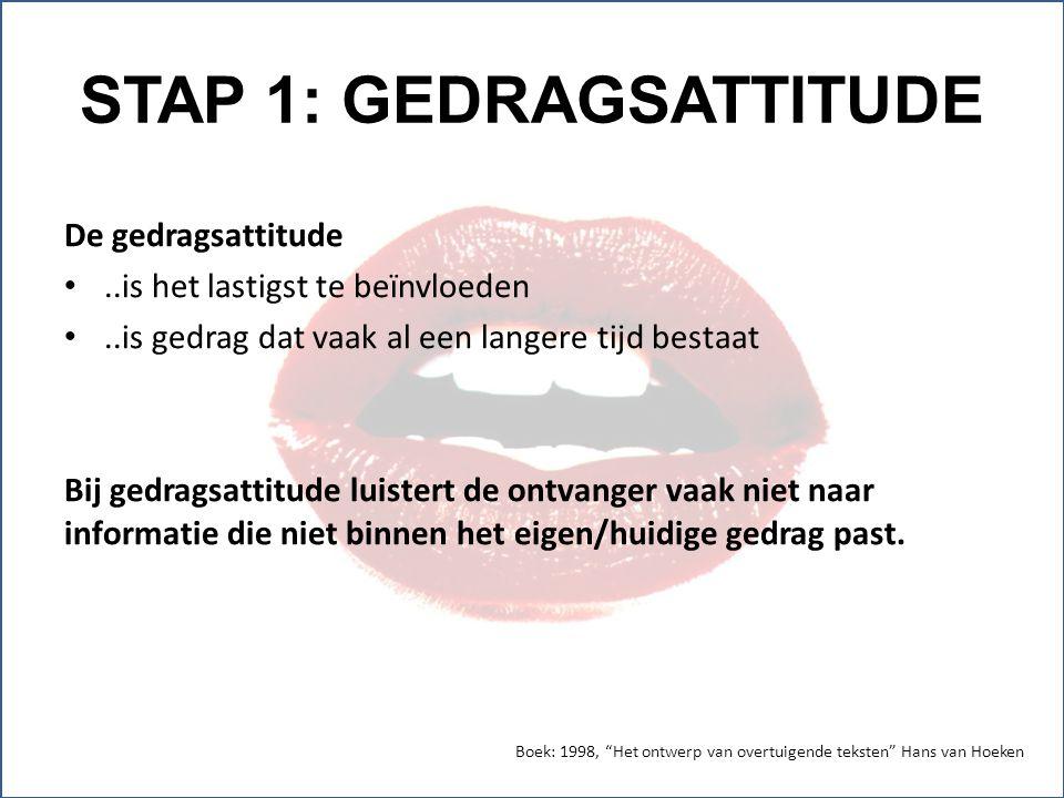 STAP 1: GEDRAGSATTITUDE De gedragsattitude..is het lastigst te beïnvloeden..is gedrag dat vaak al een langere tijd bestaat Bij gedragsattitude luister