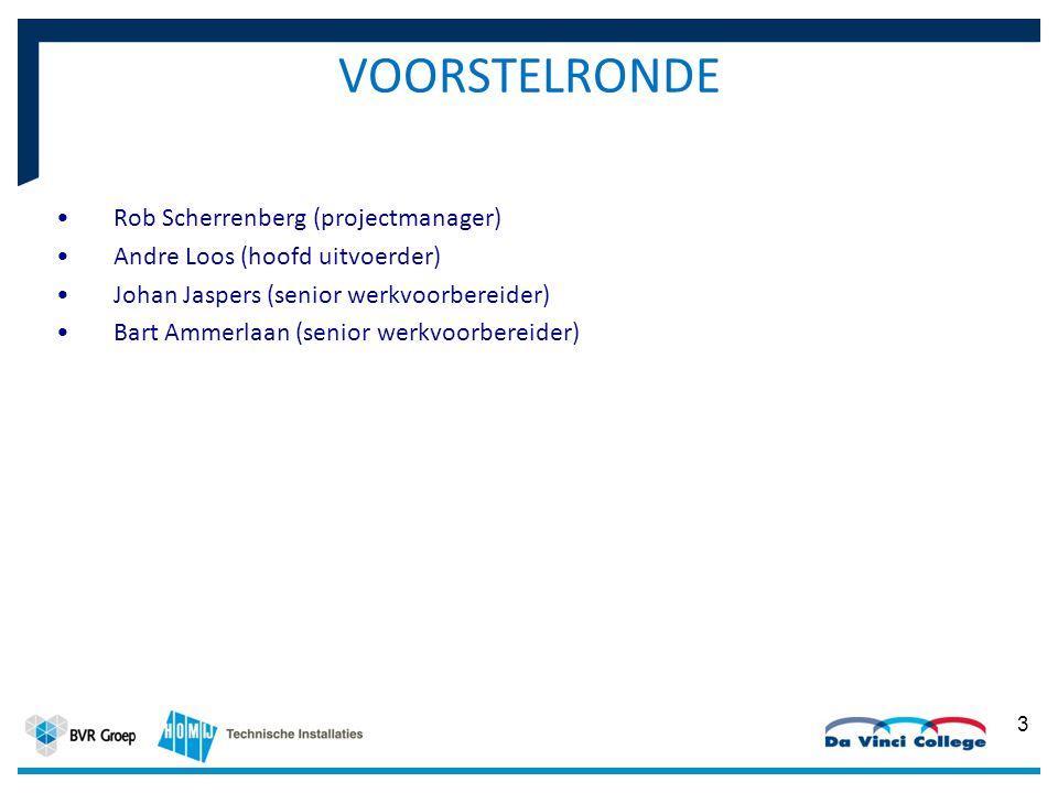 VOORSTELRONDE Rob Scherrenberg (projectmanager) Andre Loos (hoofd uitvoerder) Johan Jaspers (senior werkvoorbereider) Bart Ammerlaan (senior werkvoorb