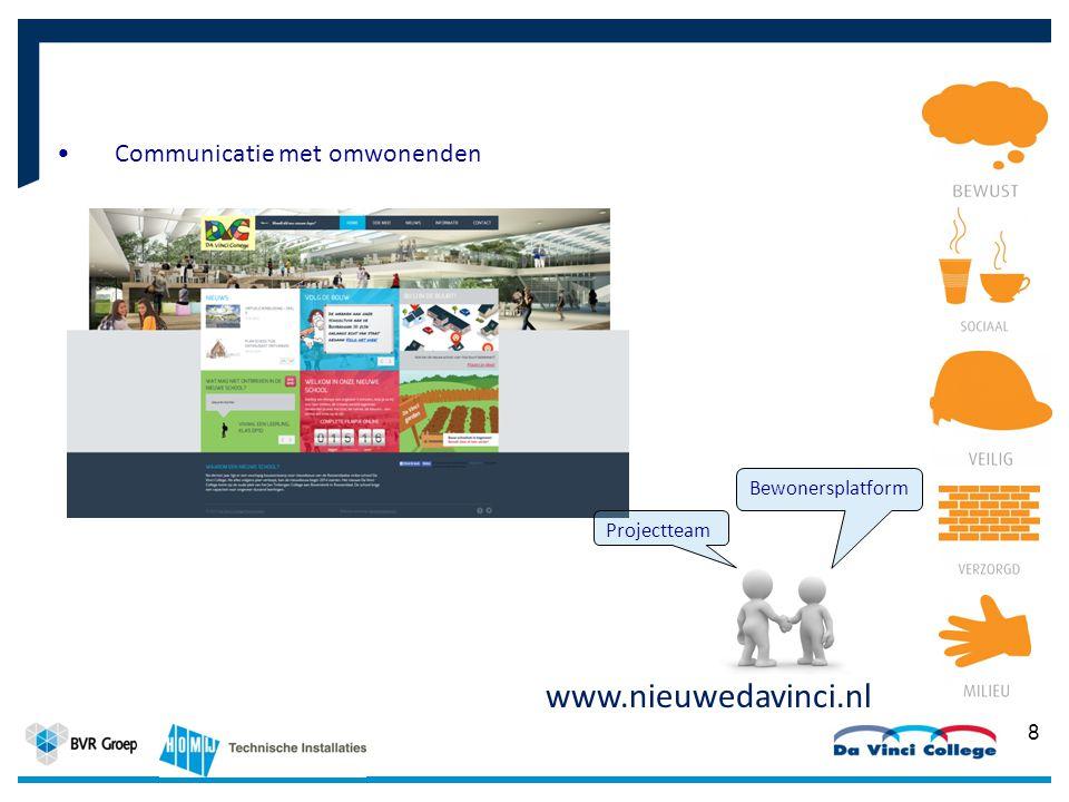 Communicatie met omwonenden 8 www.nieuwedavinci.nl Bewonersplatform Projectteam
