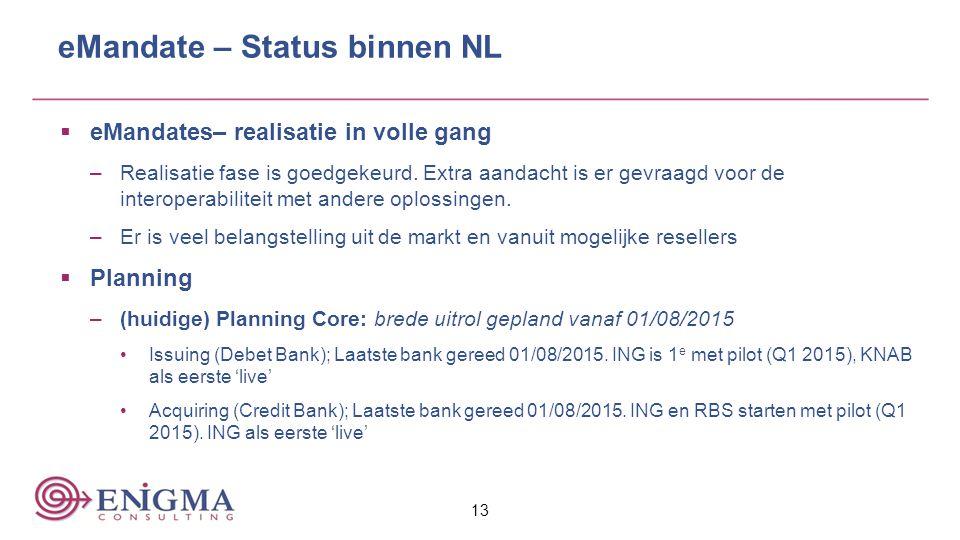 eMandate – Status binnen NL  eMandates– realisatie in volle gang –Realisatie fase is goedgekeurd. Extra aandacht is er gevraagd voor de interoperabil