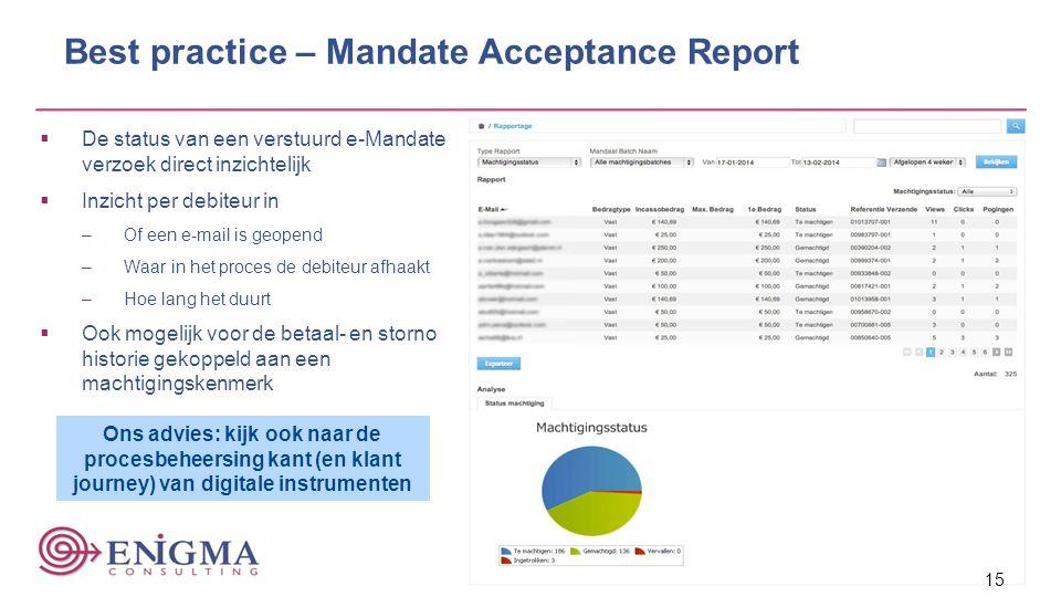 Best practice – Mandate Acceptance Report  De status van een verstuurd e-Mandate verzoek direct inzichtelijk  Inzicht per debiteur in –Of een e-mail