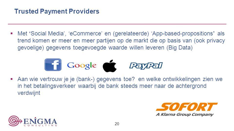 Trusted Payment Providers  Met 'Social Media', 'eCommerce' en (gerelateerde) 'App-based-propositions' als trend komen er meer en meer partijen op de