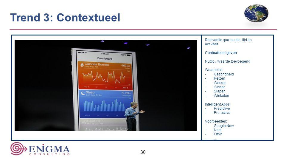 30 Trend 3: Contextueel Relevantie qua locatie, tijd en activiteit Contextueel geven Nuttig / Waarde toevoegend Wearables: -Gezondheid -Reizen -Werken