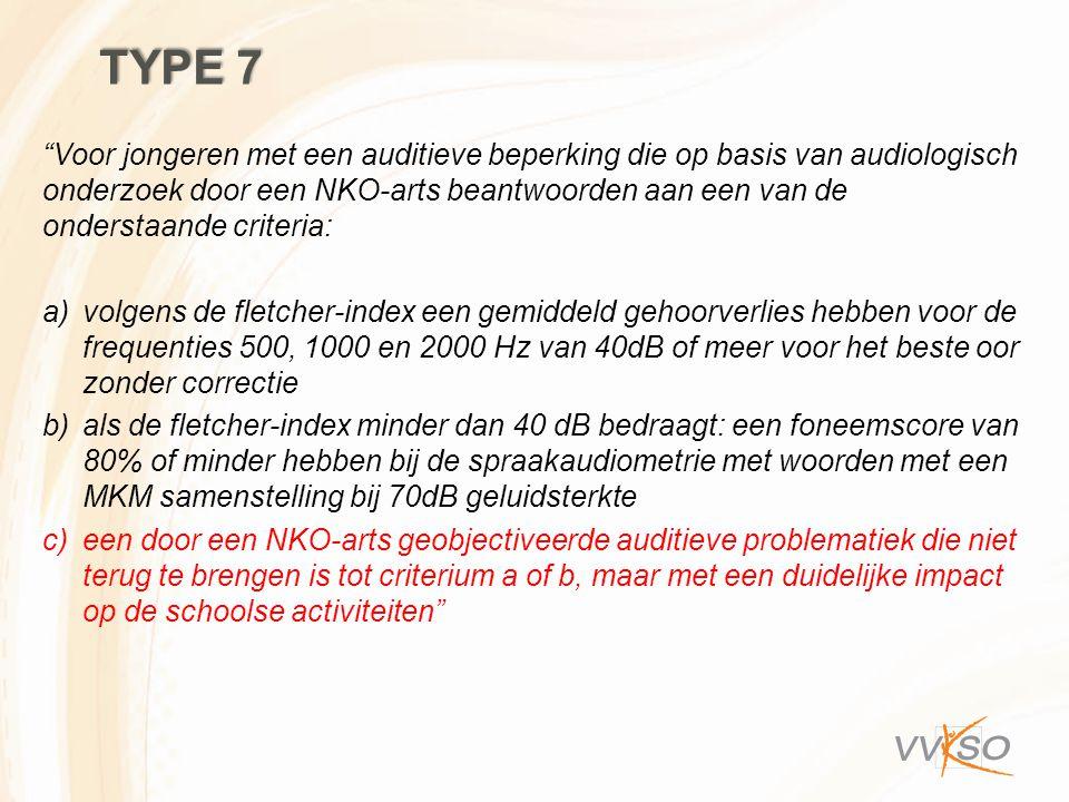 """TYPE 7 """"Voor jongeren met een auditieve beperking die op basis van audiologisch onderzoek door een NKO-arts beantwoorden aan een van de onderstaande c"""