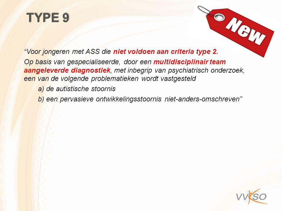 """TYPE 9 """"Voor jongeren met ASS die niet voldoen aan criteria type 2. Op basis van gespecialiseerde, door een multidisciplinair team aangeleverde diagno"""