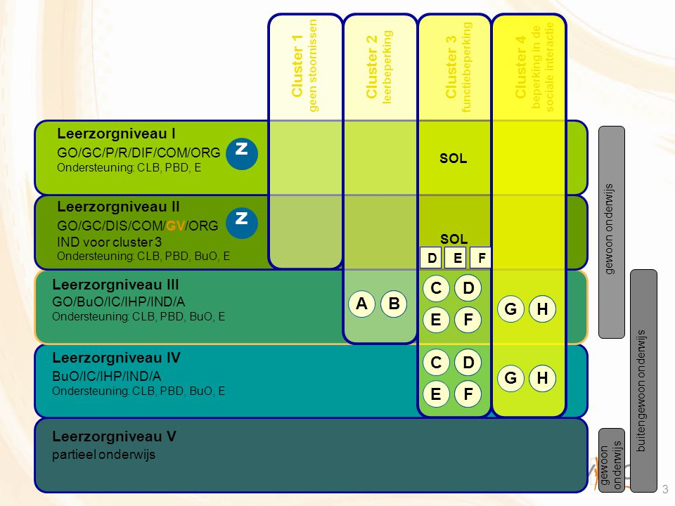 3 gewoon onderwijs buitengewoon onderwijs Cluster 3 functiebeperking Cluster 1 geen stoornissen Cluster 2 leerbeperking Cluster 4 beperking in de soci