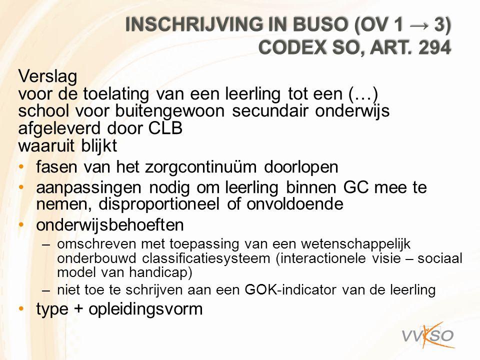 INSCHRIJVING IN BUSO (OV 1 → 3) CODEX SO, ART. 294 Verslag voor de toelating van een leerling tot een (…) school voor buitengewoon secundair onderwijs