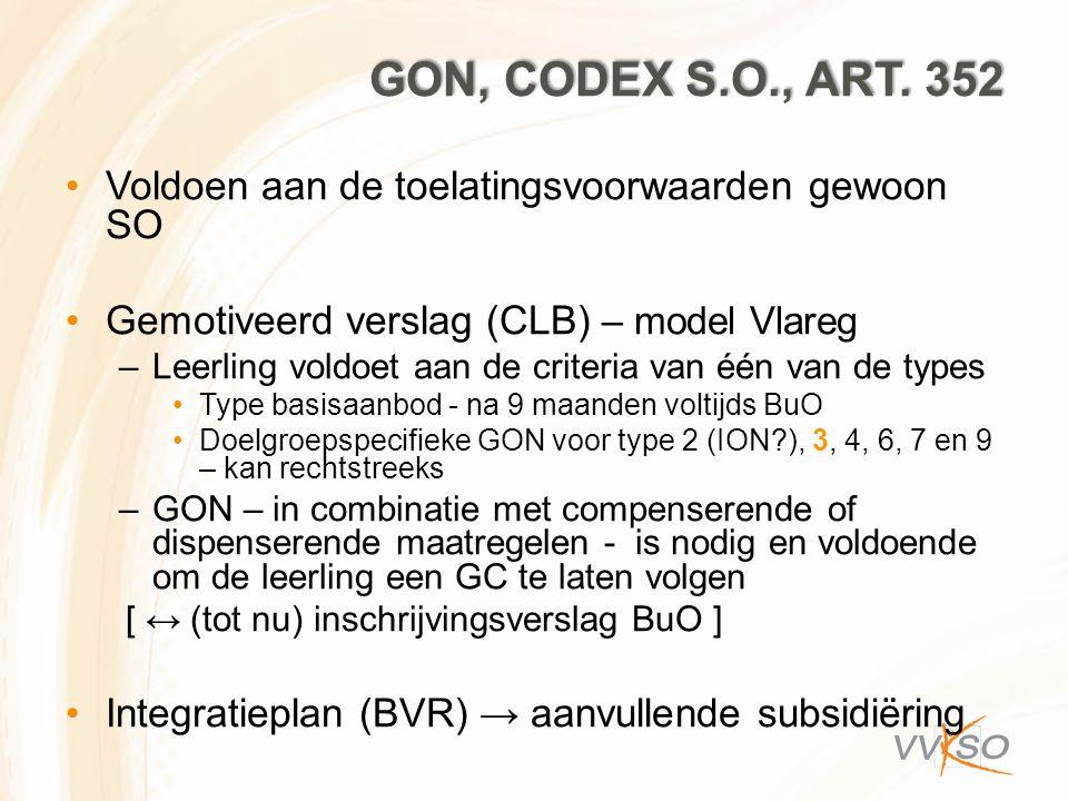 GON, CODEX S.O., ART. 352 Voldoen aan de toelatingsvoorwaarden gewoon SO Gemotiveerd verslag (CLB) – model Vlareg –Leerling voldoet aan de criteria va