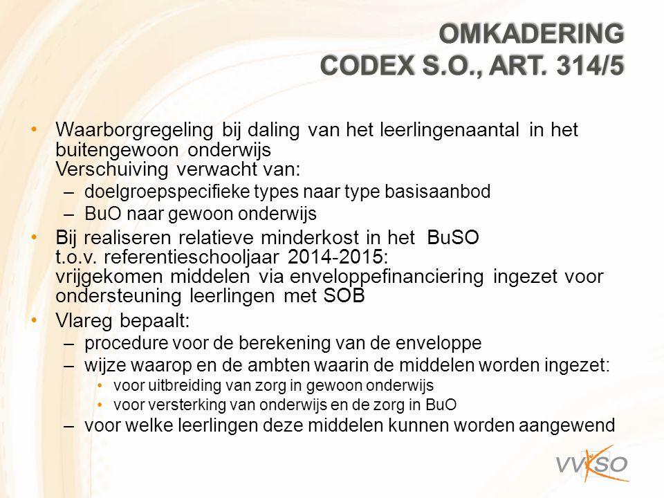 OMKADERING CODEX S.O., ART. 314/5 Waarborgregeling bij daling van het leerlingenaantal in het buitengewoon onderwijs Verschuiving verwacht van: –doelg