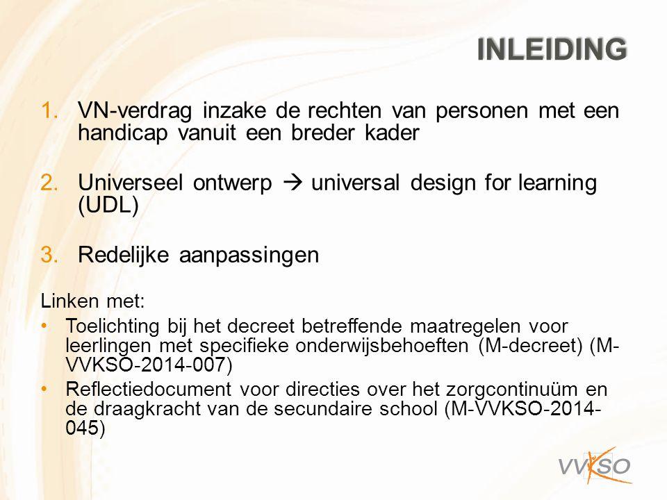 INLEIDING 1.VN-verdrag inzake de rechten van personen met een handicap vanuit een breder kader 2.Universeel ontwerp  universal design for learning (U