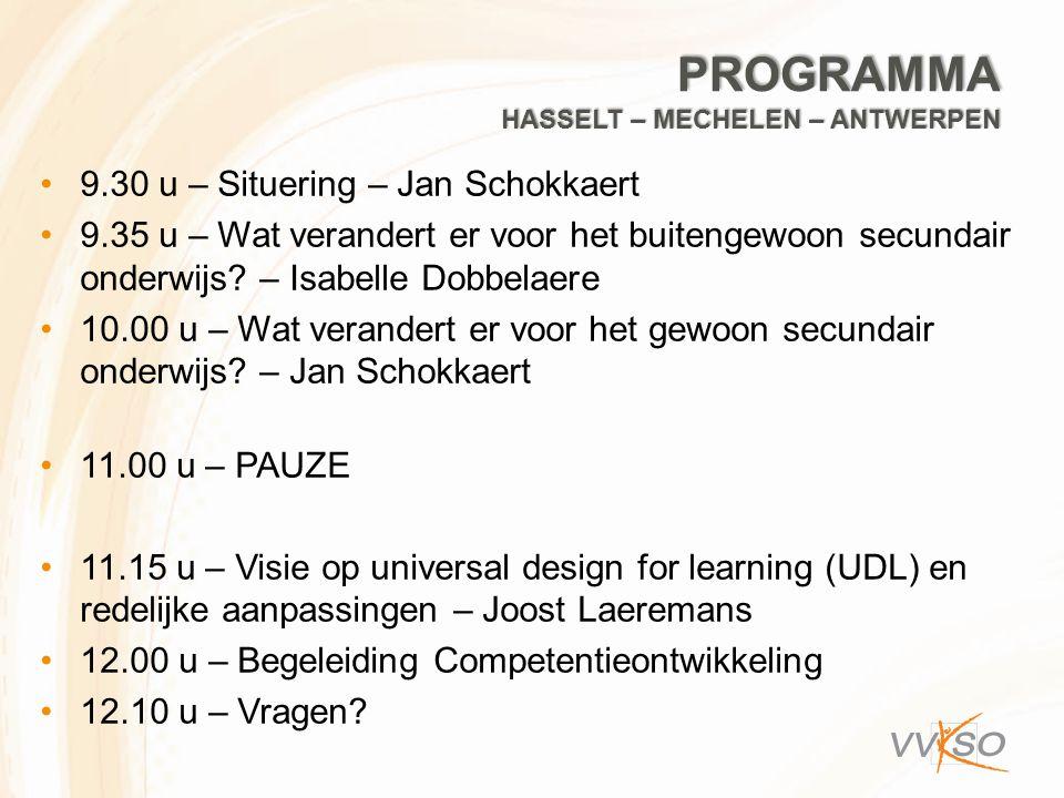 INLEIDING 1.VN-verdrag inzake de rechten van personen met een handicap vanuit een breder kader 2.Universeel ontwerp  universal design for learning (UDL) 3.Redelijke aanpassingen Linken met: Toelichting bij het decreet betreffende maatregelen voor leerlingen met specifieke onderwijsbehoeften (M-decreet) (M- VVKSO-2014-007) Reflectiedocument voor directies over het zorgcontinuüm en de draagkracht van de secundaire school (M-VVKSO-2014- 045)