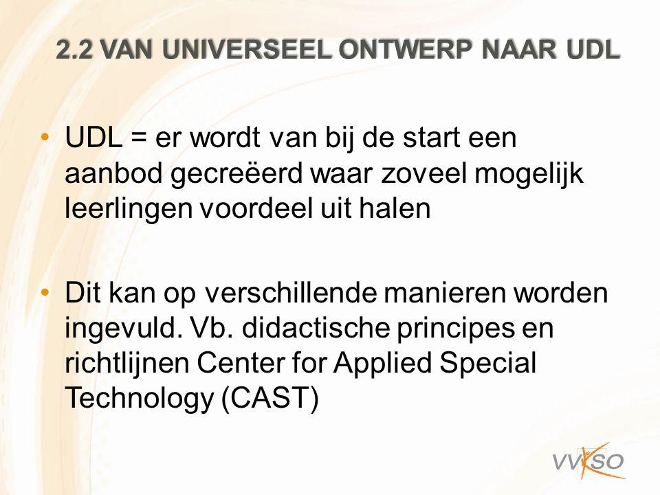 2.2 VAN UNIVERSEEL ONTWERP NAAR UDL UDL = er wordt van bij de start een aanbod gecreëerd waar zoveel mogelijk leerlingen voordeel uit halen Dit kan op