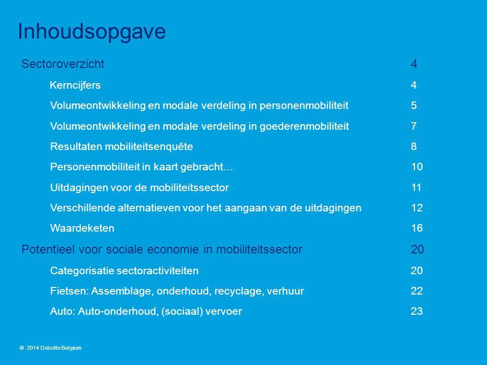 Sectoroverzicht4 Kerncijfers 4 Volumeontwikkeling en modale verdeling in personenmobiliteit 5 Volumeontwikkeling en modale verdeling in goederenmobili