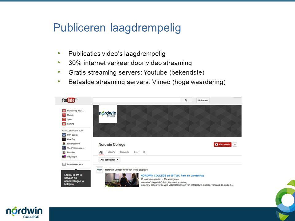 Nordwin College streaming server Betaalde server van Vimeo Ideaal voor video opdrachten, video trainingen etc.