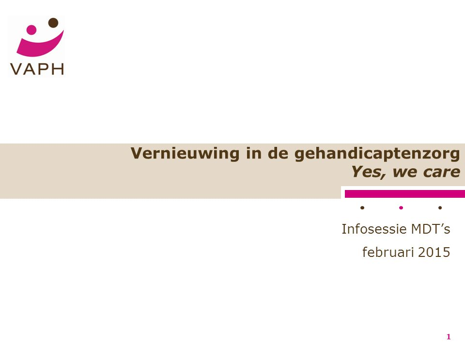 Vernieuwing in de gehandicaptenzorg Yes, we care 1 Infosessie MDT's februari 2015